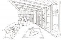 Adaptace fary v Kovářské, společenská místnost, architekti Jan Hanzlík a Jan Kolman