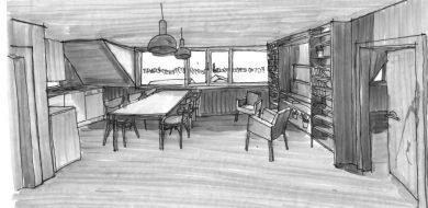 Nástavba podkroví na rodinný dům v Praze—Kyjích, skica interiéru