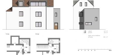 Nástavba podkroví na rodinný dům v Praze—Kyjích, varianta se schodišťovou věží